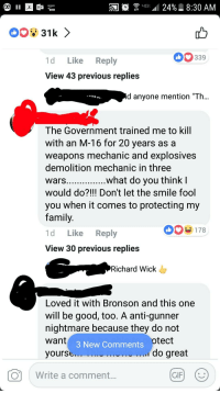 """demolition d: ama  0  339  1d Like Reply  View 43 previous replies  d anyone mention """"Th  The Government trained me to kill  with an M-16 for 20 years asa  weapons mechanic and explosives  demolition mechanic in three  wars  would do?!!! Don't let the smile fool  you when it comes to protecting my  family  1d Like Reply  View 30 previous replies  what do you thinkl  178  Richard Wick  Loved it with Bronson and this one  will be good, too. A anti-gunner  nightmare because they do not  want  Vourse  otect  3 New Comments  .i do great  Write a comment"""