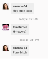 Bitch, Police, and Tumblr: amanda-64  Hey cutie xoxo  Today at 9:21 AM  tomaturtles  H-hewwo?  Today at 12:11 PM  amanda-64  Furry bitch tomaturtles:  tomaturtles: I can't believe i'm getting called out by a bot Update: i'm calling the police