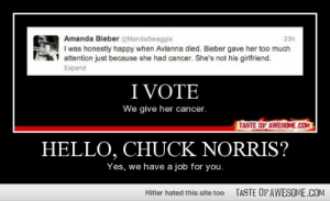 Hello, Chuck Norris?http://omg-humor.tumblr.com: Amanda Bieber @MandaSwaggie  I was honestly happy when Avlanna died. Bieber gave her too much  attention just because she had cancer. She's not his girifriend.  Expand  23h  I VOTE  We give her cancer.  TASTE OF AWESOME.COM  HELLO, CHUCK NORRIS?  Yes, we have a job for you.  TASTE OFAWESOME.COM  Hitler hated this site too Hello, Chuck Norris?http://omg-humor.tumblr.com