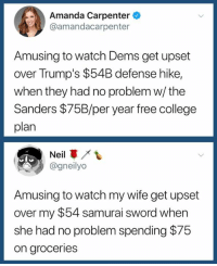 College, Samurai, and Free: Amanda Carpenter  @amandacarpenter  Amusing to watch Dems get upset  over Trump's $54B defense hike,  when they had no problem w/ the  Sanders $75B/per year free college  plan  Neil  @gneilyo  Amusing to watch my wife get upset  over my $54 samurai sword when  she had no problem spending $75  on groceries (S)