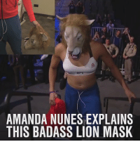 A special welcome from @Amanda_Leoa for Ronda Rousey before her return to fighting at UFC207 tonight.: AMANDA NUNES EXPLAINS  THIS BADASS LION MASK  SK  NS  AA  LM  XN  EO  SL  NS  AA  DB  AS  MH  AT A special welcome from @Amanda_Leoa for Ronda Rousey before her return to fighting at UFC207 tonight.
