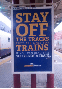 Advice, Express, and Good: AMAR  AVE) 1-800-233-9942  STAY  OFF  THE TRACKS  THEY ARE ONLY FOR  TRAINS  IF YOU CAN READ THIS  YOURE NOT A TRAIN  EXPRESS  3004 A good advice