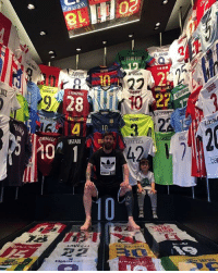 Lionel Messi's football shirt collection 👏: AMARA  SURREl  LANZIN  28  10  USTAR  MESS!  ADIDAS  JUANFRAN  PIQU  TOURE :AYA  EL ARAB!  LAHM  Lasli Lionel Messi's football shirt collection 👏