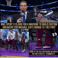 """FSU's Michael Ojo has bigger feet than you.: aMARCHMADNESS IIII  ROAD THE FINAL FOUR  III  MARCHMAONESS  FINL ROUR  FINAL FOUR  RMARCHMADNESS  IND OFF COU  THE NIKE SPENT$15,000 FOR A MACHINE TO BUILD CUSTOM  SNEAKERS FOR MICHAEL OJO'S UNI UE (219E FOOT  NWSTN  3  GONZ  FLORIDA  ILOR  LOOK AT THE SIZE DIFFERENCE BETWEEN  HIS FOOT &HIS 6'6"""" TEAMMATE S  CBS Sports FSU's Michael Ojo has bigger feet than you."""
