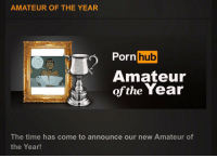 Dick, Guess, and Time: AMATEUR OF THE YEAR  rnhub  Amateur  ofthe Year  Guess  MY DICK  OFF NOu  The time has come to announce our new Amateur of  the Year! https://t.co/KvhdAdCtYx