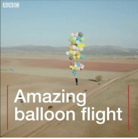 """Africa, Anaconda, and Memes: Amazing  balloon flight It looks like a scene from the movie Up - but this isn't just hot air. A British adventurer has flown 25km (15.5 miles) above South Africa suspended from 100 helium balloons strapped to a camping chair. It took Tom Morgan two days to inflate them ready for the flight, which he described as """"magical"""". adventure flight hotairballoon inspiration challenge up"""