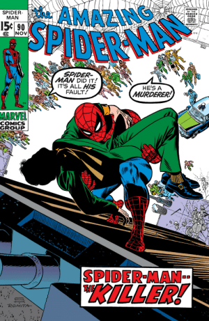 """superhero-news:  90 DAYS [Until """"Spider-Man: Homecoming""""]: AMAZING  SPIDER  MAN  APPROVED  BY THE  COMICS  CODE  15t 90  AUTHORITY  SPIDER  MAN DID IT!  IT'S ALL HIS  FAULT  HE'S A  MURDERER!  TM  MARVEL!  COMICS  GROUP  SPIDER-MAN  THE  KILLER!  ROMITA superhero-news:  90 DAYS [Until """"Spider-Man: Homecoming""""]"""