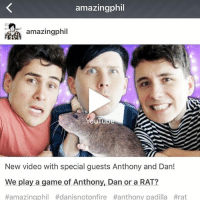 FUCK YEAH: amazingphil  amazingphil  YouTu  New video with special guests Anthony and Dan!  We play a game of Anthony, Dan or a RAT?  #amazingphil #danisnotonfire #anthony padilla FUCK YEAH