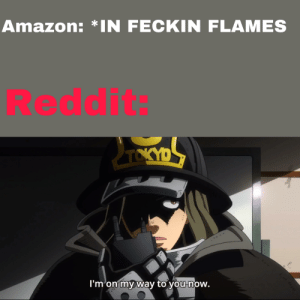 Amazon, Reddit, and Dank Memes: Amazon: *IN FECKIN FLAMES  Reddit:  D  TOKY  I'm on my way to you now. T R E E. G O O D