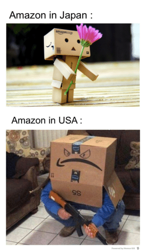 ios: Amazon in Japan :  amazon.co.jp  Amazon in USA :  S5  Powered by Memes ios  D.  dfoou