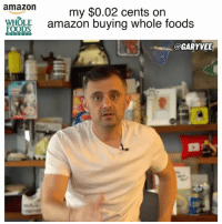 """Amazon, Fucking, and Gym: amazon  my $0.02 cents on  FOODS  amazon buying whole foods  @GARYVEE Start hustling .. because you could be the new company that eats the old company in 20 years if you do everything right ... now 99.9999999% of you won't be Amazon big, but """"big"""" is relative and what's amazing about technology is your hair salon or gym or car shop can buy the biggest version of that in town or the state if you out execute them over the net decade by betting on technology while they push against it ... lets fucking go innovation amazonwholefoods amazon wholefoods hustle entrepreneurs selfimprovement"""