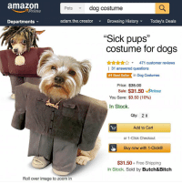 "Two rescue puppers and I'll be all set to spook you fools silly 😤🎃⚡️: amazon  Prime  Pets  dog costume  Departments  adam.the.creator  Browsing HistoryToday's Deals  ""Sick pups""  costume for dogs  31  ALAA471 customer reviews  