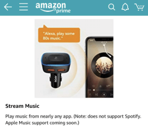 "Any music app... except the two largest.: = amazon  prime  Q  ""Alexa, play some  80s music.""  K  Stream Music  Play music from nearly any app. (Note: does not support Spotify.  Apple Music support coming soon.) Any music app... except the two largest."