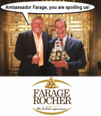 Dank Memes, Spoiled, and Spoil: Ambassador Farage, you are spoiling us!  FARAGE  ROCHER  the Beittoh  eaperience Made by Xander