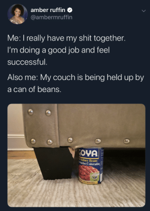 Adulthood figured out: amber ruffin  @ambermruffin  Me: I really have my shit together.  I'm doing a good job and feel  successful.  Also me: My couch is being held up by  a can of beans.  OYA  Kidney Beans  huelas Coloradas  E PREMIUMS Adulthood figured out