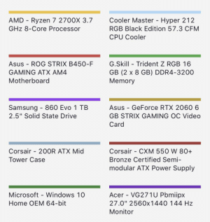 """Microsoft, Windows, and Black: AMD Ryzen 7 2700X 3.7  Cooler Master - Hyper 212  GHz 8-Core Processor  RGB Black Edition 57.3 CFM  CPU Cooler  Asus ROG STRIX B450-F  G.Skill Trident Z RGB 16  GB (2 x 8 GB) DDR4-3200  Memory  GAMING ATX AM4  Motherboard  Samsung 860 Evo 1 TB  2.5"""" Solid State Drive  Asus GeForce RTX 2060 6  GB STRIX GAMING OC Video  Card  Corsair 20OR ATX Mid  Corsair - CXM 550 W 80+  Tower Case  Bronze Certified Semi-  modular ATX Power Supply  Acer - VG271U Pbmiipx  Microsoft Windows 10  Home OEM 64-bit  27.0"""" 2560x1440 144 Hz  Monitor I want to get into the pc master race, but I need help. Are all these components compatible?"""