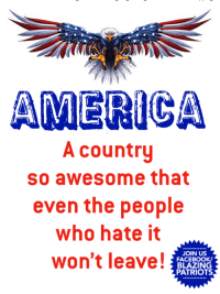 America, Facebook, and Memes: AMERICA  A country  so awesome that  even the people  who hate it  won't leave!  JOIN US  FACEBOOK/  BLAZING  PATRIOTS