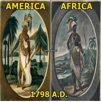 """Africa, America, and Memes: AMERICA  AFRICA  NegusNetwork  1798 A D. @Regrann from @negusnetwork - Per the British Museum in 1798, these are the emblems - images as representations of the autochthonous - indigenous people of such land mass. Know the difference between autochthonous & native. Notice the EXACT same wardrobe, from headdress to """"ToeDress"""". In aMARuca - aMERica - aMURica, the WAR bonnet or headdress consisted of bird feathers & the primary weapon, of course... was the bow & arrow. In Kemet (war), Ramses - Ramessu and-or his horse wore a feathered headdress while Ramses holds a bow & arrow. In KMT, the different feathered crowns represented war, justice, order etc. The Yoruba tradition, Ochosi - Ogun - Shango is also seen wearing a bird feather headdress w- a bow & arrow. In the Hindu practice, MURugan - Kartikeya - Rudra (the Fierce one) or the war diety, is also depicted with bird feathers & a bow & arrow. EVERY single diety has been depicted to wear the leopard - jaguar skin cloth from the Yoruba of West Africa, to Kemet down to Ethiopia, to india to the Americas. In the Helios Biblos (Holy Bible), it speaks of the Anakim - Anak as the ORIGINAL inhabitants of palestine BEFORE the Canaanites, who were a WARLIKE CUSHITE tribe and the same race as the phoenicians and egyptians (kemites). In the ancient times, Ta Seti, which means the """"Land of the BOW"""" consists of Sudan - Ethiopia. Mind you, the Anuak - Anak people of Sudan - Ethiopia, who are also the predecessor - ancestor of the Kemites, are the oldest - tallest giants (Nephilim - anakim - rephraim etc). You MUST unlearn, EVERYTHING, you have learned. AintNoAliensBih Autochthonous Pangea Olmec Negro BritishMuseum MaUr ZiggURat SuMERia LeMURia TaMERi AMARuMURu AMOR AMERica Moloch PlumedFeather Indigo Anu TaSeti Tehuti Teotihuacan Viracocha TheyCameBeforeColumbus MORoMORo - regrann"""