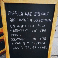 trump card: AMERICA AND BRITA(H  ARE HAVING A COMPETITION  ON WHO CAN FUCK  THEMSELVES UP THE  MOST.  BRITAIN IS (W THE  LEAD, BUT AMERICA  HAS A TRUMP CARD