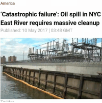 """The US Coast Guard has declared part of New York City's East River a """"safety zone"""" after an unknown amount of oil spewed from a Con Edison substation into the notoriously polluted waterway. A massive cleanup is currently underway. A statement from Con Edison says a transformer, containing roughly 37,000 gallons of oil, malfunctioned Sunday, releasing """"much of the oil"""" into the station property and the river. Coast Guard Chief Warrant Officer Allyson Conroy told the Gothamist that a """"catastrophic failure"""" caused a transformer to leak dielectric fluid, a mineral oil used for cooling electronic equipment. Con Ed spokesman Allan Drury said the spill happened at a substation on John Street in DUMBO along the Brooklyn coastline. Witnesses told the Gothamist that the spill could be seen for miles, with some reporting they could see it from Hunter's Point South Park in Long Island, Queens. The Con Edison spokesman said that more than half the oil is still in the transformer, according to WPIX. """"We will continue to assess the volume of oil that migrated to the East River, and how much oil remains in the ground on our property,"""" Con Edison stated in a press release. On Tuesday, the energy company said they responded to the spill """"immediately"""" by setting up booms, absorbents and skimmers around the spill in the river. The US Coast Guard, the New York State Department of Environmental Conservation and other agencies are also helping with the cleanup process. """"We are taking all actions to contain and clean up the oil as safely and as quickly as possible,"""" the company said. The Coast Guard has declared a """"safety zone"""" for everything south of the waters off Dupont Street in Greenpoint and East 25th Street in Midtown Manhattan, down to Red Hook, and the southern end of the Buttermilk Channel, according to the Gothamist.: America  'Catastrophic failure': Oil spill in NYC  East River requires massive cleanup  Published: 10 May 2017 03:48 GMT The US Coast Guard has declared part of Ne"""