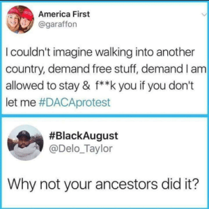 America, Dank, and Memes: America First  @garaffon  I couldn't imagine walking into another  country, demand free stuff, demand I am  allowed to stay & f**k you if you don't  let me #DACAprotest  #BlackAugust  @Delo_Taylor  Why not your ancestors did it? Trump loves the poorly educated. by CarmenBellaxoxo MORE MEMES