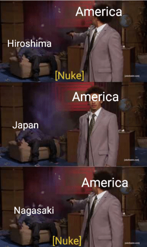 America uses secret weapon against Japan in WWII (1945): America  Hiroshima  [Nuke]  America  Japan  America  Nagasaki  Nuke] America uses secret weapon against Japan in WWII (1945)