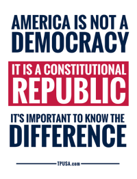 America, Memes, and True: AMERICA IS NOT A  DEMOCRACY  IT IS A CONSTITUTIONAL  REPUBLIC  ITS IMPORTANT TO KNOW THE  TPUSA.com SO TRUE! #BigGovSucks