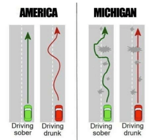 Meanwhile in Michigan…: AMERICA  MICHIGAN  Driving Driving  Driving Driving  sober  drunk  sober  drunk Meanwhile in Michigan…