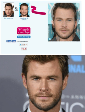 trompehue-studios:  cellamare:  whosplayerthree:  smaug-official:  Chris+Chris =Chris  ²  I went to fool around on face morph but instead I unlocked a conspiracy  #i cant believe chris hemsworth is a fusion  #the christal gems  STOP: America..  Morph  a new image  Morph this image  ALike Shere  67,903 people like this.  Tweet  Pinit trompehue-studios:  cellamare:  whosplayerthree:  smaug-official:  Chris+Chris =Chris  ²  I went to fool around on face morph but instead I unlocked a conspiracy  #i cant believe chris hemsworth is a fusion  #the christal gems  STOP