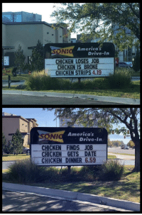 America, Chicken, and Date: America  NE  Drive In  CHICKEN LOSES JOB  CHICKEN IS BROKE  - CHICKEN STRIPS 4.19  Exii  America's  SONI  Drive In  _ CHICKEN FINDS JOB  CHICKEN GETS DATE  CHICKEN DINNER 6.59 A happy ending