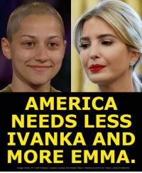 America, cnn.com, and American: AMERICA  NEEDS LESS  IVANKA AND  MORE EMMA  Image Credit: AP l CNN aanges: cropped, resized, text added. https://thebea·t/20ZY01Н·https://ytoo  no  L Really American