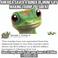 Trump Tweet: AMERICA SAVEDABUNCH OF MONEY BY  MAKING TRUMP PRESIDENT  Donald J. Trump  @realDonald Trump  The media has not reported that the  National Debt in my first month went  down by $12 billion vs a $2OO billion  increase in Obarma first mno  Since Trump Tweet ithas gone down to 3ABillion  lTreasury Gov)