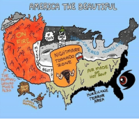 America, Beautiful, and Fire: AMERICA THE BEAUTIFUL  ON  FIRE  THIS  SNo  NIGHTMARE  TORNADo  ONE  SCA  凸  BELT?  THE  GROUNO C  ALSo  AIR MADE  HoT SouP  BEARS  MURDER  MouNR  MOUNTAINs  HURRICANE  TERROR  AREA