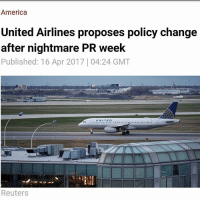 """In the aftermath of the PR disaster which followed the violent removal of a passenger on an overbooked United Airlines flight which was caught on video and went viral, the airline has proposed a policy change which it believes will avoid any recurrence of such practices. UA staff and crew members who commute via the airline will now be required to check in 60 minutes prior to departure to prevent a repetition of the April 9 incident. """"This ensures situations like flight 3411 never happen again. This is one of our initial steps in a review of our policies in order to deliver the best customer experience,"""" said United spokesperson Maggie Schmerin in a statement, as cited by CNN Money. The company has also vowed that law enforcement will not be asked to eject passengers from overbooked flights in the future as part of its ongoing efforts to """"deliver the best customer experience."""" The airline industry policy of overbooking flights is well-known but removing passengers after boarding is largely unheard of, especially when they do not volunteer. In addition, many airlines offer financial incentives to passengers in exchange for giving up their seats, making the incident involving Dr. Dao entirely avoidable. United CEO David Munoz has the full support of the board and has no intention of resigning reports Reuters. After the video showing Dr. Dao's violent removal from flight 3411 went viral on Monday, United Continental Holdings' (Which owns United Airlines) stock plunged by almost five percent the following morning, equating to a hit of approximately $600 million to its market capitalization (share value multiplied by total number of shares). However, when trading opened the next day, the company had regained a large proportion of its losses. United Continental Holdings opened the week with a share price of roughly $71.50 and closed at $69.07. And while shareholders will not be entirely happy with the week's trading, it is far from the dawn of the apocalypse for United Ai"""