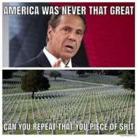 America, Memes, and Shit: AMERICA WAS NEVER THAT GREAT  CAN YOU REPEAT THAT YOU PIECE OF SHIT POS