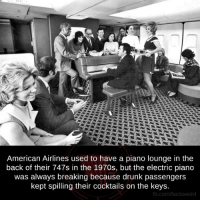 Drunk, Memes, and American Airlines: American Airlines used to have a piano lounge in the  back of their 747s in the 1970s, but the electric piano  was always breaking because drunk passengers  kept spilling their cocktails on the keys  fb.com/facts Weird This is why we can't have nice things.