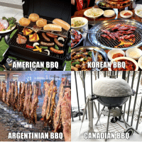 Beer, Funny, and Korean: AMERICAN BBQ  KOREAN BBQ  ARGENTINIAN BBQ  CANADIAN BBQ The secret to a good BBQ is a cold beer they say.