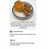 wtf america ???? that ain't a biscuit: American biscuit (left) and one variety of  British biscuit (right) -the American biscuit is  soft and flaky; whereas British biscuits are  hard and dry  jamesdeenhateclub  americans are u aware that ur using the word  wrong  halle  man shut up i swearta god with yall lil ugly  hard ass cookies wtf america ???? that ain't a biscuit