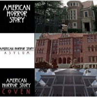 Memes, American, and 🤖: AMERICAN E  HORROR  STORY  AMERICAN-MORRORSTR  A S Y L U M  TM  AMERICAN  HORRoR ST9RY  COVEN Which season's location is your favorite ? americanhorrorstory ahs