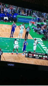 Nba, Sports, and American: AMERICAN EXP  25  42  2  17  2018 NBA OPENING NIGHT  PHI 10 BOS  1ST 4:27 24  14  VIZIO It's a new season, but Al Horford still thinks rebounds are going to murder him https://t.co/OMIFzPbWJy