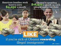 America's Freedom Fighters: American families work  Obama is spending  hard to earn  183972 a month on each  $4,250  a month  illegal immigrant child  LIKE  if you're sick of Obama rewarding  illegal immigrants!  FORAMERICA America's Freedom Fighters