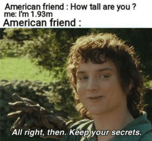 how tall are you: American friend How tall are you?  me: I'm 1.93m  American friend  All right, then. Keep your secrets