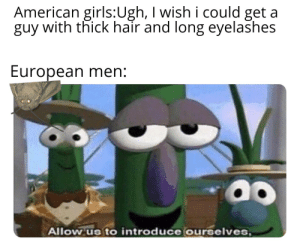 Girls, Reddit, and American: American girls:Ugh, I wish i could get  guy with thick hair and long eyelashes  European men:  Allow us to introduce ourselves, Here we are