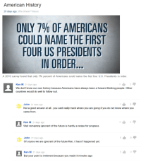 Funny, Future, and Ignorant: American History  26 days ago, Who Knew? Videos  ONLY 7% OF AMERICANS  COULD NAME THE FIRST  FOUR US PRESIDENTS  IN ORDER  A 2010 survey found that only 7% percent of Americans could name the first four US Presidents in order  Ken M 21 days ago  We don't know our own history because Americans have always been a forward-thinking people. Other  countries would do well to follow suit.  John 21 days ago  Not a good answer at all..you cant really track where you are going if you do not know where you  came from.  Ken M 21 days ago  Well remaining ignorant of the future is hardly a recipe for progress  John 21 days ago  Of course we are ignorant of the future Ken, it hasn't happened yet.  Ken M 21 days ago  0 Ken M is the Robin Hood of trolling. He does it for you. #yahooanswers #KenM #Funny #trolling
