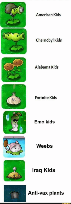 Emo, Alabama, and American: American Kids  Chernobyl Kids  Alabama Kids  Fortnite Kids  Emo kids  Weebs  Iraq Kids  Anti-vax plants  ifunny.co Found on iFunny