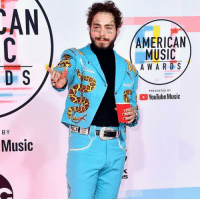 Memes, Mood, and Music: AMERICAN  MUSIC  A WA R D S  PRESENTED BY  , o YouTube Music  BY  Music  Is What's the mood? 🎉 New look including a solo cup at the AMAs and it's all at @toofabnews postmalone tmz 📷Getty