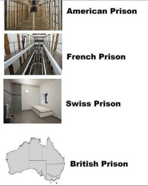Prison, American, and British: American Prison  French Prison  Swiss Prison  British Prison Gday mate https://t.co/U3mgtoWWXn