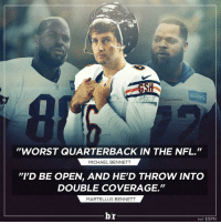 """The Bennett Bros. flame Jay Cutler 😳: AMERICAN  SEAHAWKS  """"WORST QUARTERBACK IN THE NFL.""""  MICHAEL BENNETT  """"I'D BE OPEN, AND HED THROW INTO  DOUBLE COVERAGE.""""  MARTELL US BENNETT  br  H/T ESPN The Bennett Bros. flame Jay Cutler 😳"""