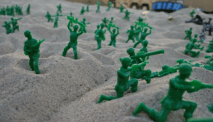 American, Beach, and Storm: American troops storm the beach at Normandy, (June 6th, 1944, colorized)