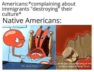 "Boo, Sad, and Song: Americans:*complaining about  immigrants ""destroying"" their  culture*  Native Americans:  Let me play you a sad song on the  world's smallest Shaman Drum  Oh, boo-hoo! Invest Now-template without anything in claw is in the comments via /r/MemeEconomy https://ift.tt/2NbSwKr"
